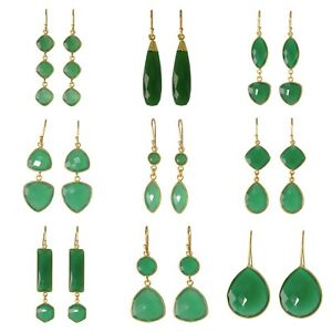 925-Solid-Sterling-silver-gold-polished-Green-Onyx-dangle-amp-drop-earrings