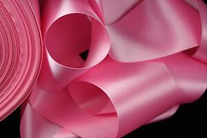 "3+ yards 3"" wide roll vintage bright pink trim vintage satin ribbon"