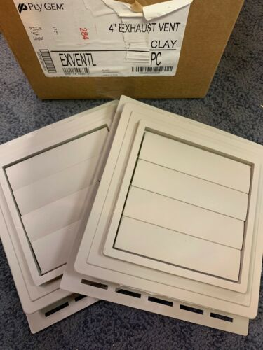 "Ply Gem Clay 4"" Exhaust Vent Clay Measures 7.5"" Lot Of 2 Vents Brand New"