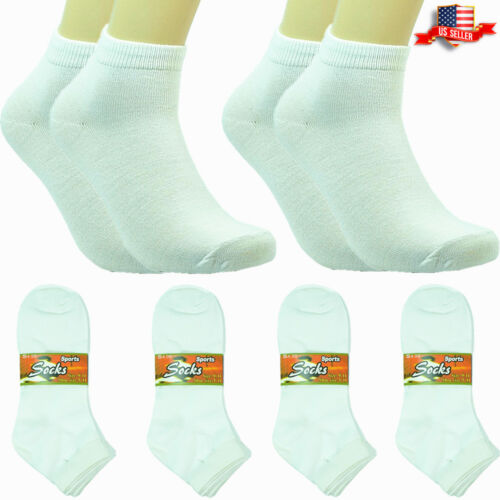 12 Pairs Women Fashion Cotton School Casual Ankle Low Cut Socks Size 9-11 white