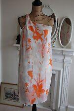 DIANE VON FURSTENBERG White Ivory Orange Silk Floral One Shoulder Dress 6 8 XS S