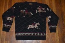 vintage EDDIE BAUER wool knit EQUESTRIAN dressage HORSE Jumping  SWEATER s