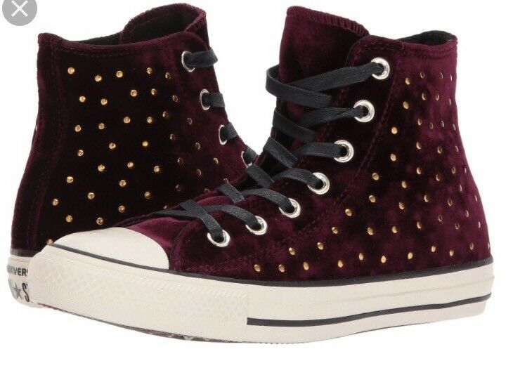 Converse Chuck Taylor All Star Sangria Velvet Studs High Top Sneakers Size 7