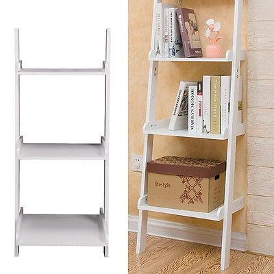 3 niveles blanco apoyada escalera estante pared estantería/estantería