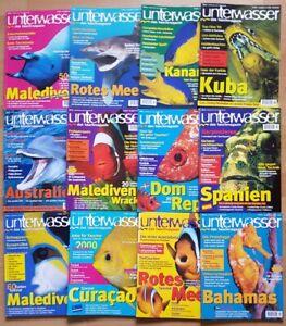 12x-Unterwasser-1999-Jahrgang-Zeitschrift-Sport-Meere-Tiere-Urlaub-Tauchen