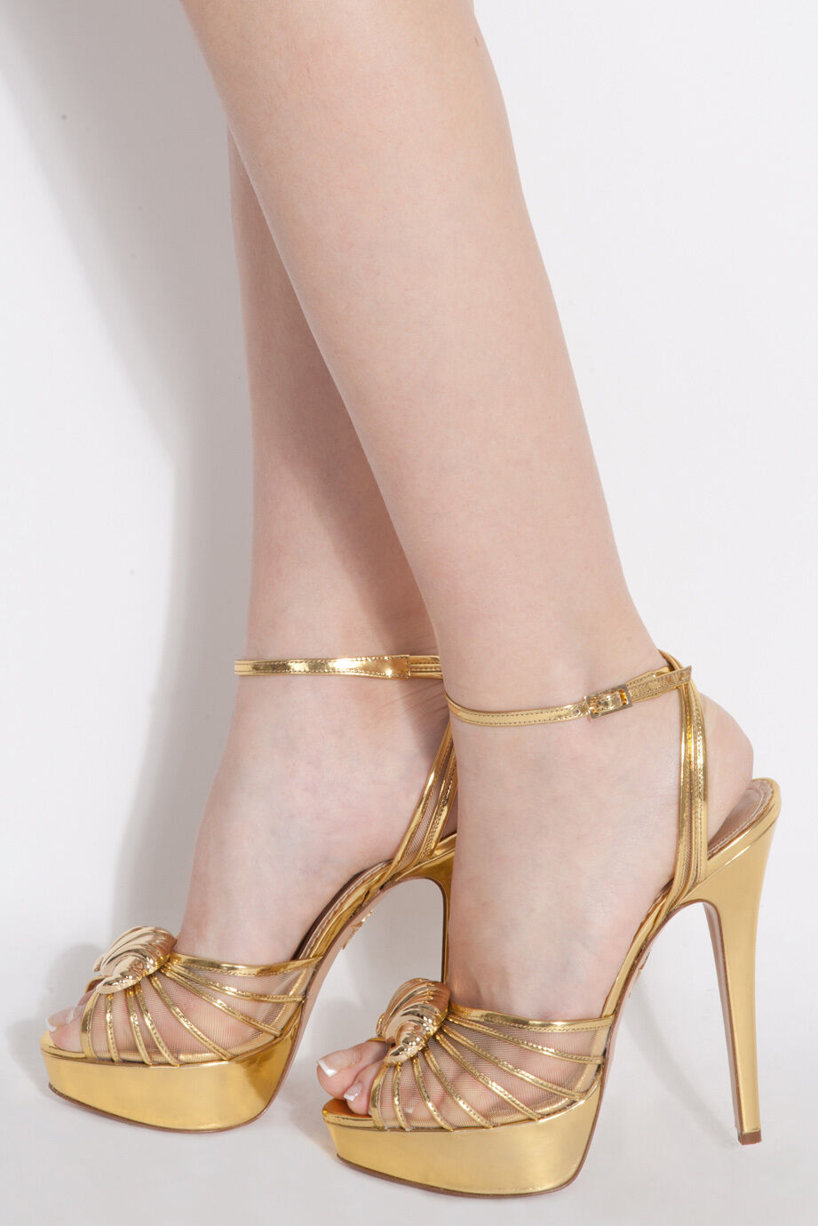 995 New Charlotte Olympia Croissant Mettalic gold Platform Sandals shoes 35 39.