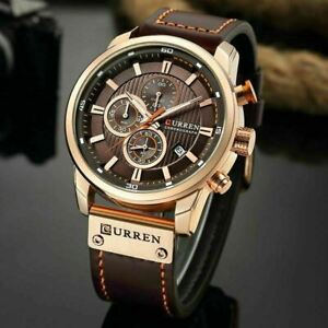 Bussiness-Herrenuhr-Armbanduhr-Analog-Quarz-Uhr-Sportuhr-Watch-Leder-Buegel-D3T3