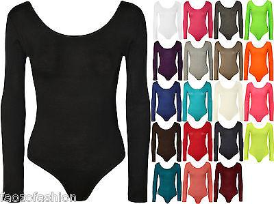New Womens Long Sleeve Scoop Neck Plain Ladies Stretch Bodysuit Leotard Top 8-14