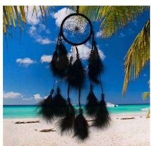 Attrape-Reve-Plumes-Dream-Catcher-Noir-Decoration-Bijoux-des-Lys