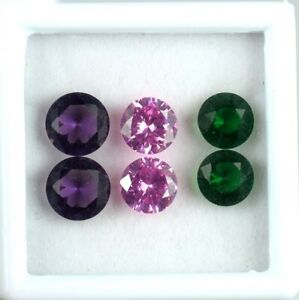 15.80Ct/6 Pcs Emerald, Pink Sapphire & Amethyst Round Gems Lot Natural Certified