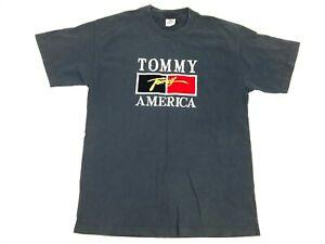 Vtg-90s-TOMMY-AMERICA-Embroidered-Felt-FLAG-Large-Navy-Blue-Hilfiger-BOOTLEG