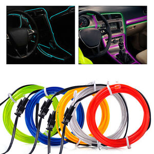 12v el wire flexible car interior decor fluorescent neon strip cold light tape ebay. Black Bedroom Furniture Sets. Home Design Ideas