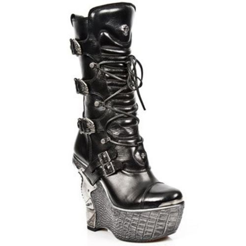 NEWROCK New Rock PZ003-S4 Black Gothic Ladies Leather Lace Up Up Up Wedge Heel Boots fe8078
