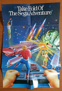 Vintage-SEGA-MASTER-SYSTEM-Double-Sided-Poster-Version-1-In-Good-Condition