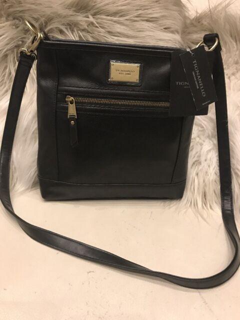 150 Tignanello Leather Function Frenzy Black Crossbody Rfid Protection Zip Bag