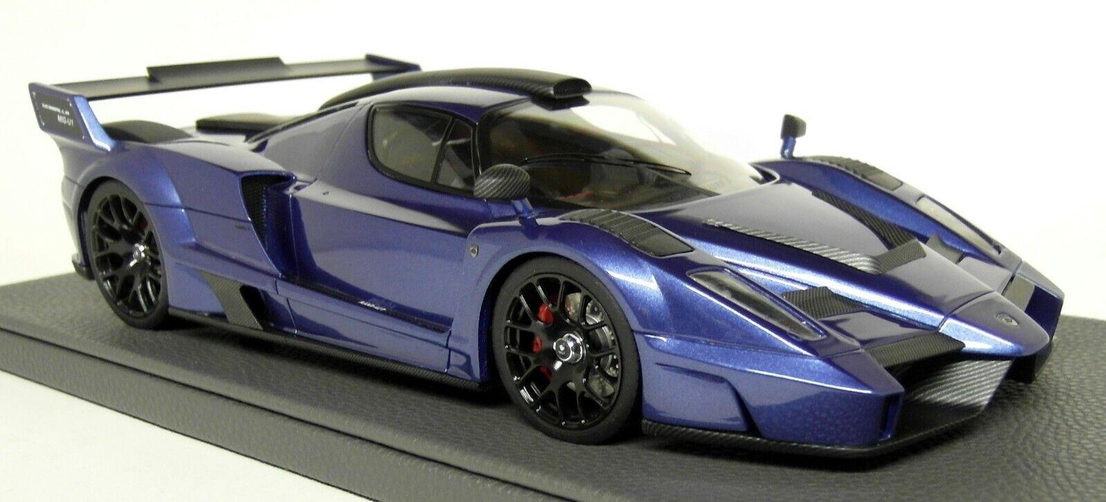 top Marques 1 18 Scale Gemeballa Mig U01 (Tuned Enzo) blauw Resin model Auto