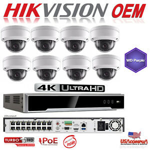 Details about HIKVISION NVR SECURITY SYSTEM 4K-UHD 16CH KIT WEATHER PROOF /  2 AXIS (OEM)