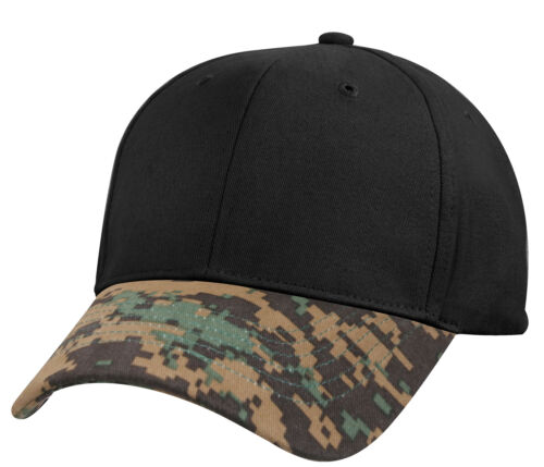 Two Tone Team Sports Camo Cap Ballcap Hat Woodland Digital Black Rothco 8933