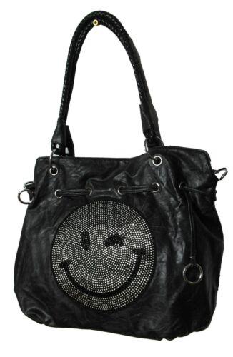 Beuteltasche Handtasche Umhängetasche Shoppertasche Smiley Schwarz