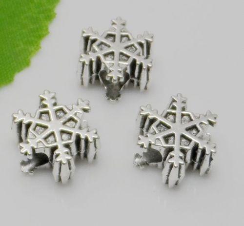5//30Pcs Tibetan Silver Charms Grand Trou Snowflake Spacer Beads 7x14mm Trou 4 mm