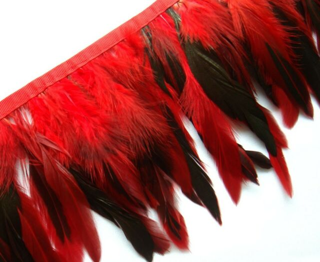 F272 PER FEET-Long Red Rooster Hackle feather fringe Trim Fascinator Material