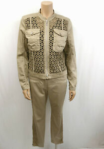 MARCCAIN-SPORTS-Anzug-Hose-amp-Jacke-Gr-N4-40-Blazer-Spitzenbesatz-Khaki-Beige