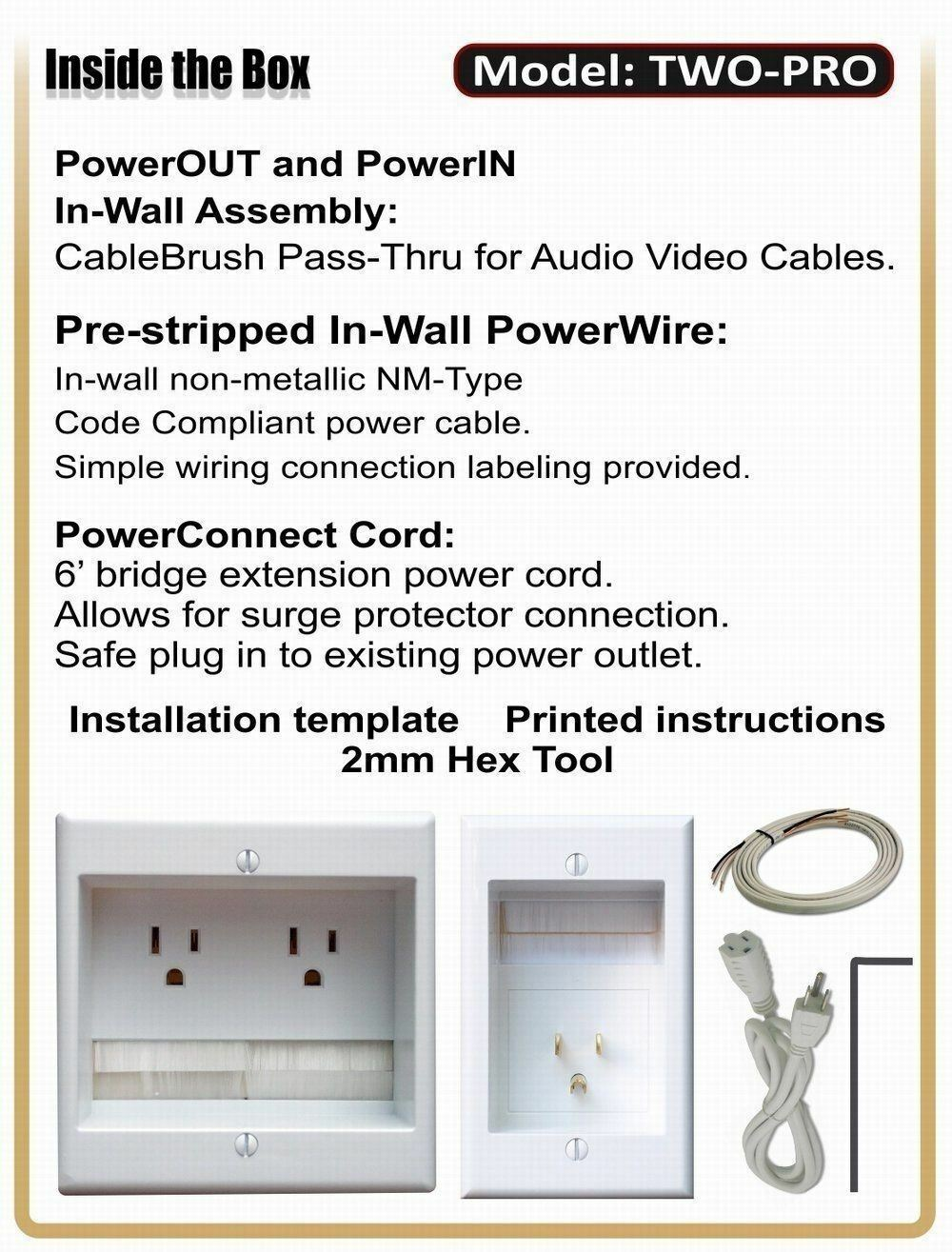 PowerBridge Two-pro 6 Dual Power Outlet Professional Grade Recessed ...