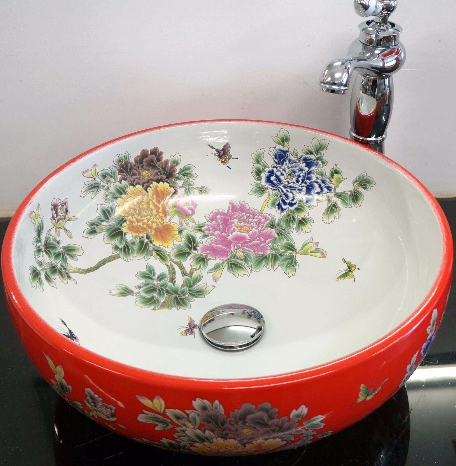 Rouge Ronde Salle de Bain Vestiaire en céramique de comptoir lavabo évier Lavage Bol
