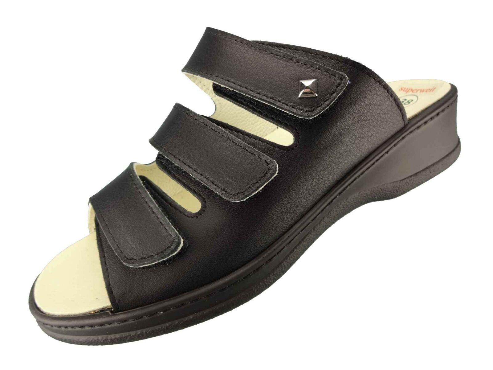 Algemare Damen Pantolette mit Absatz superweit Sandale Wechselfußbett 4238_0101