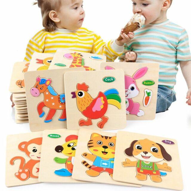 cute Kids Cartoon Animal 3D Early Education Wooden Jigsaw Puzzle