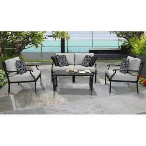Details about kathy ireland Madison Ave. 5 Piece Aluminum Patio Furniture  Set 05c in Grey
