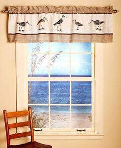 Sandpiper Beach Coastal Nautical Window Valance Seashell Seashore Bird Valance 626850289954 Ebay