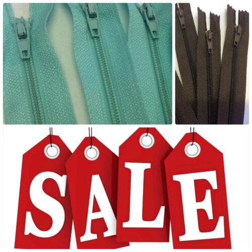 Closed End Turquoise 35cm /& Brown 50cm Zips Quantity 100 SALE