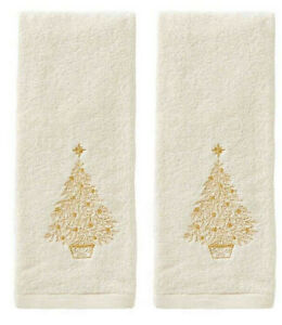 Glimmer Christmas Gold Tree Embroidered Hand Towels Set of 2 in Natural