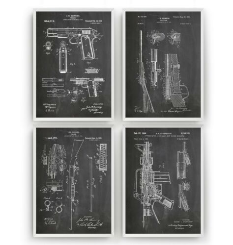 Gun Patent Prints Unframed Set Of 4 Poster Wall Art Military Decor Gift