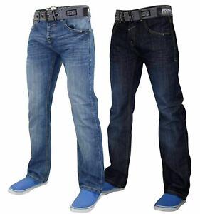 Crosshatch-Hombre-Denim-Jeans-Pierna-Recta-se-desvanecio-Pantalones-Pantalones-Cinturon-Gratis-Todos
