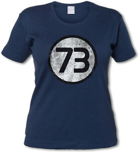 Femenino-Camiseta-T-Shirt-Azul-Marino-Number-73-The-TV-Big-Nerd-Bang-chica