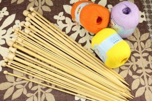High Quality Set 36pcs Single Pointed Bamboo Knitting Needles 2mm - 10mm