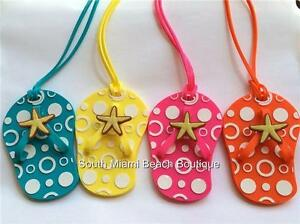 Multicolor-Starfish-Flip-Flop-Luggage-Tags-ID-Tag-Purse-Backpack-Diaper-Bag-USA
