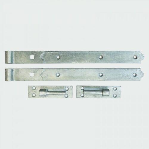 Pares de gancho y bisagras de puerta de banda Heavy Duty caseta de jardín puerta Negro Galv