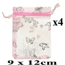 4 Pink Organza Jewellery Gift Pouch Pouches Bags Butterfly 9cm x 12cm