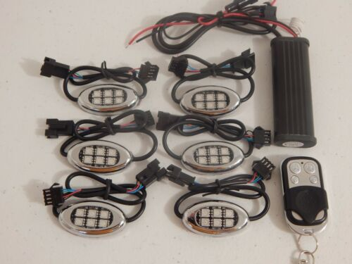 18 Color Change 5050 SMD RGB Led Victory Vegas Motorcycle 6pc Led Pod Light Kit