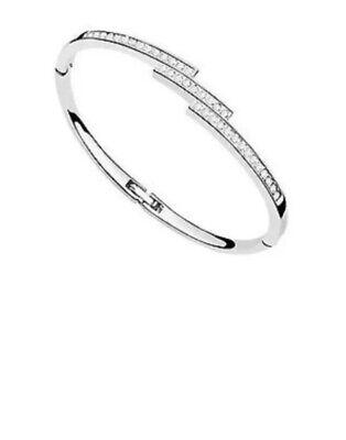 Womens Bracelet With Swarovski Elements Triple Sparkle Bangle NEW   eBay
