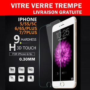 Vitre-Film-de-protection-d-039-ecran-en-verre-Trempe-iPhone-8-7-6-6S-Plus-SE-5S-5C-X
