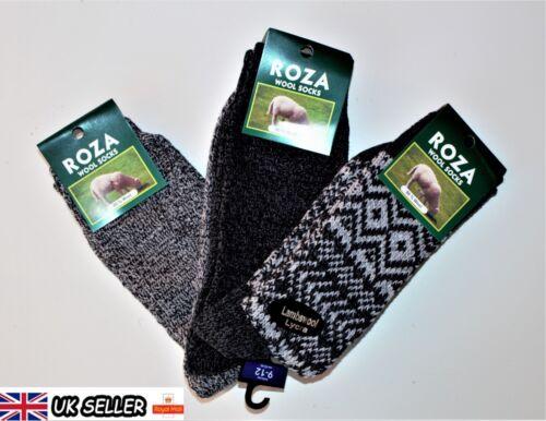 3 Pairs Men/'s Wool Socks Thick Cosy Work Thermal Boot Socks Size UK  6-11 ZEDGQ