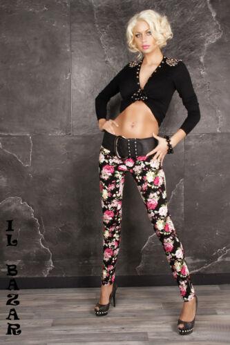 pantalone//jeans nero stampa floreale denim di cotone taglie 38; 40; 42; 44; 46