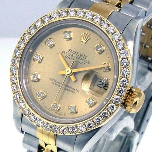 ROLEX DATEJUST 18K YELLOW GOLD STEEL LADIES CHAMPAGNE DIAMOND DIAL DIAMOND BEZEL