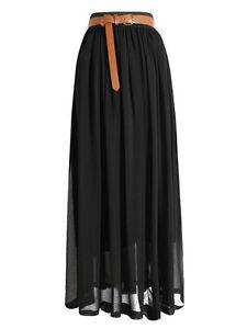 black chiffon maxi skirt pleated retro