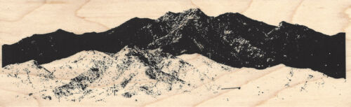 Mountain Border Wood Mounted Rubber Stamp IMPRESSION OBSESSION Background F13161