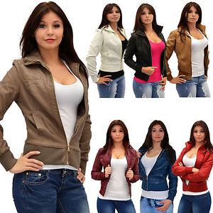 Damen-Lederjacke-Collegejacke-Damenjacke-Damen-College-Leder-Jacke-Kunstlede-M08
